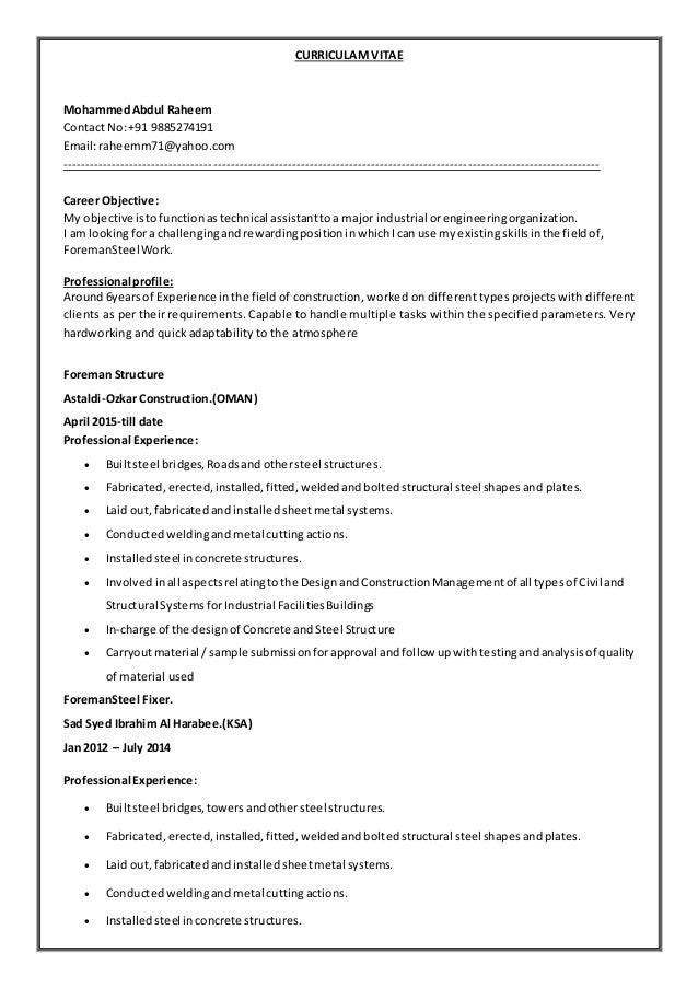 steel fixer resume