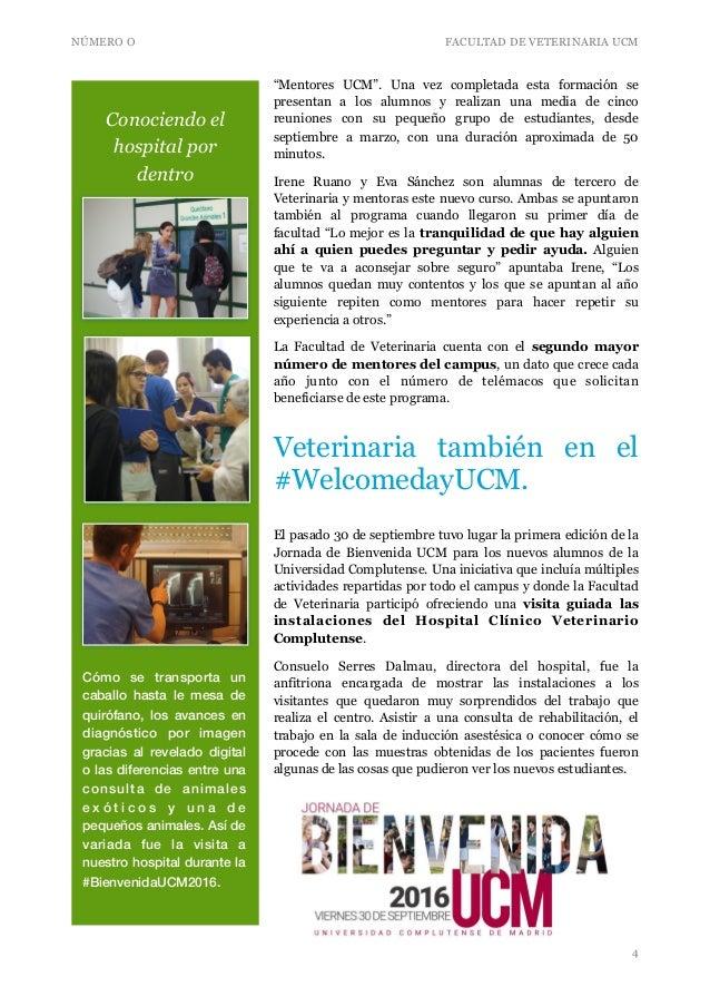 """NÚMERO O FACULTAD DE VETERINARIA UCM """"Mentores UCM"""". Una vez completada esta formación se presentan a los alumnos y realiz..."""
