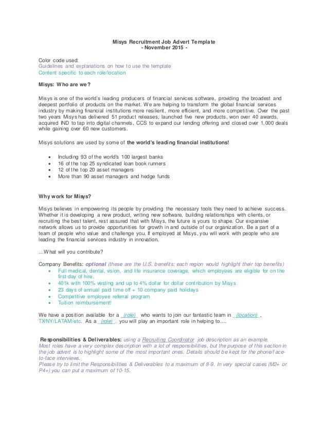 Job Advert template