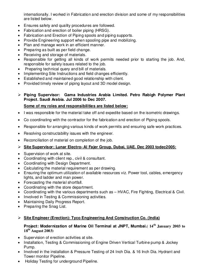 RESUME PIPING SUPERVISOR – Piping Supervisor Resume