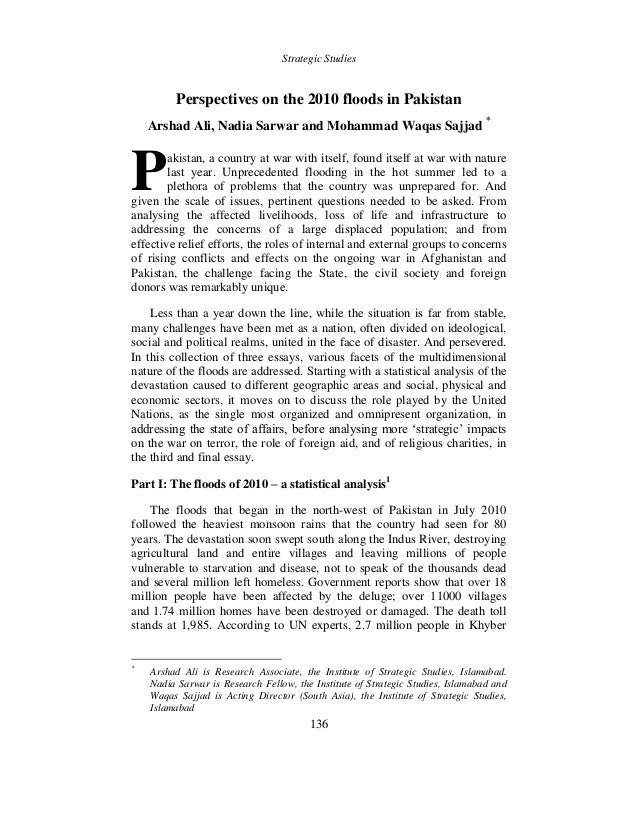 Custom Written Essay Strategic Studies  Perspectives On The  Floods In Pakistan Arshad  Ali Nadia Sarwar And  World Literature Essay Topics also Ethnic Identity Essay Perspectivesonthefloodsinpakistanjpgcb Crime And Punishment Essay Questions