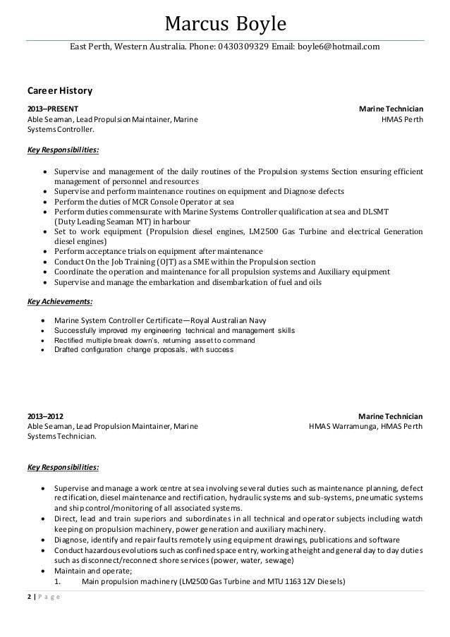Marine Mechanic Resume Twnctry