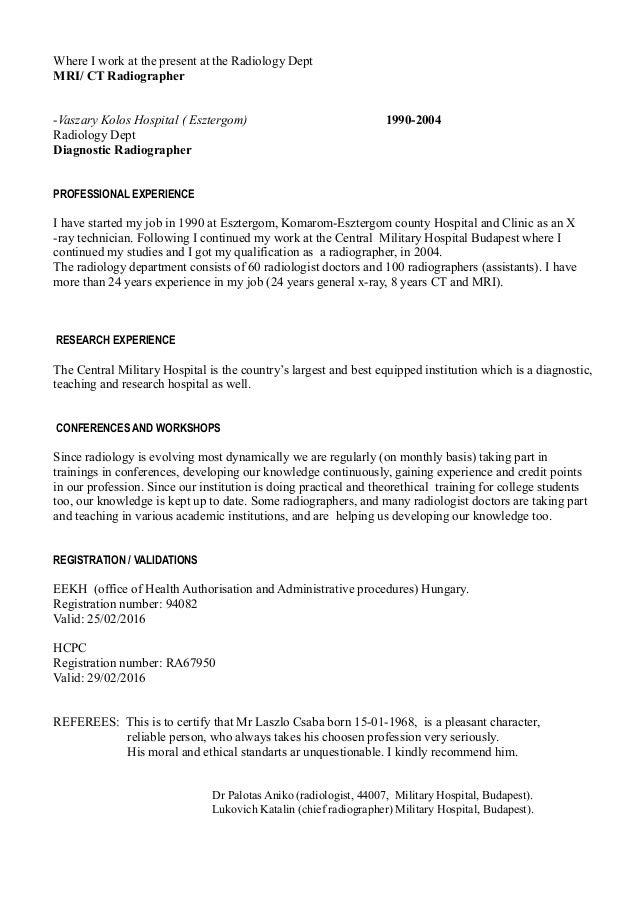 radiography resume