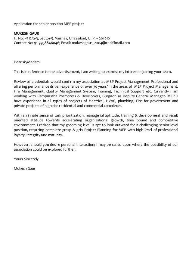 Application for senior position MEP project MUKESH GAUR H. No. –712/G-3, Sector-5, Vaishali, Ghaziabad, U. P. – 201010 Con...