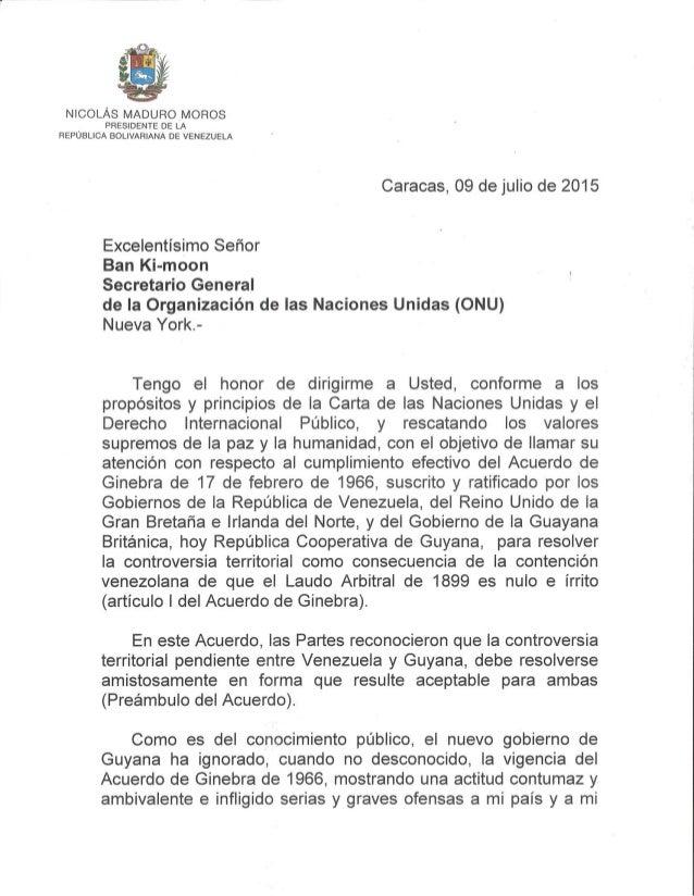NICOLÁS MADURO MOROS  l PRESIDENTE DE LA REPUBLICA BOLIVARIANA DE VENEZUELA  Caracas,  09 de julio de 2015  Excelentísimo ...