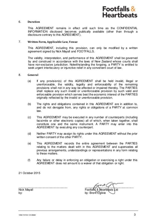 Cda Fhl Confidentiality Agreement Mutual  Nick Mayall Generic