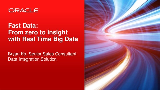 Copyright © 2013, Oracle and/or its affiliates. All rights reserved.1 Fast Data: From zero to insight with Real Time Big D...