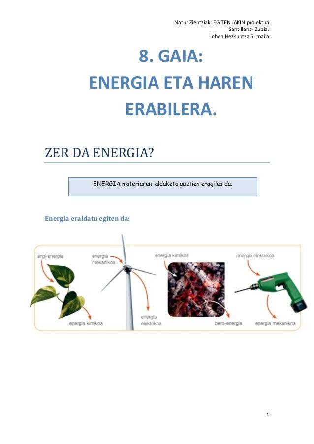 Natur Zientziak. EGITEN JAKIN proiektua Santillana- Zubia. Lehen Hezkuntza 5. maila 1 ZER DA ENERGIA? Energia eraldatu egi...