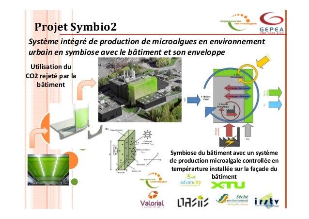 Projet Symbio2 Système intégré de production de microalgues en environnement urbain en symbiose avec le bâtiment et son en...