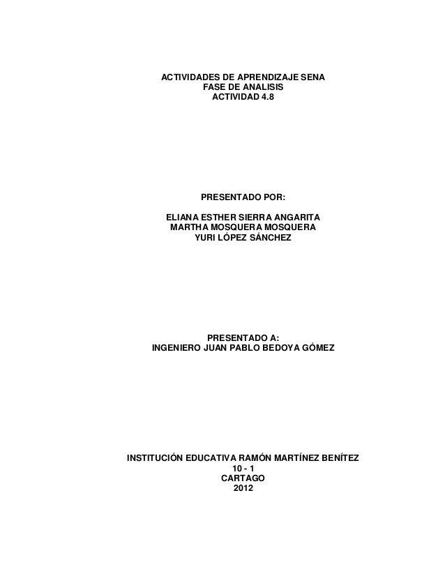 ACTIVIDADES DE APRENDIZAJE SENA              FASE DE ANALISIS                ACTIVIDAD 4.8             PRESENTADO POR:    ...