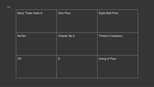 Navy Team Seal 6 One Plus Eight Ball Pool Se7en Chanel No.5 Three's Company O2 9 Gang of Four