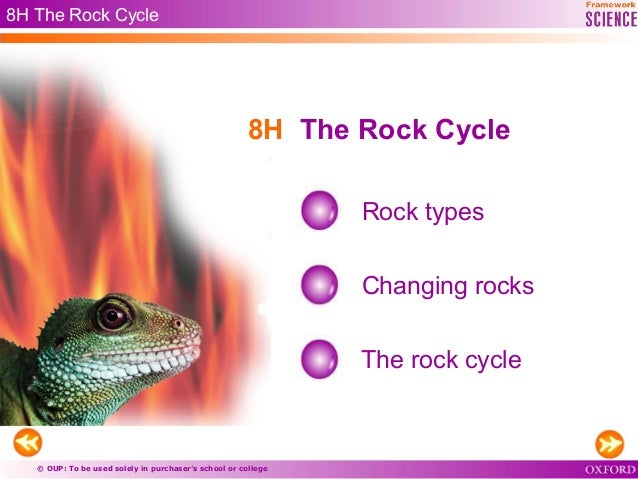 © OUP: To be used solely in purchaser's school or college 8H The Rock Cycle Rock types Changing rocks The rock cycle 8H Th...