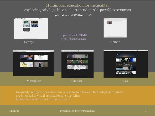 Multimodal education for inequality: exploring privilege in visual arts students' e-portfolio personas by Noakes and Walto...