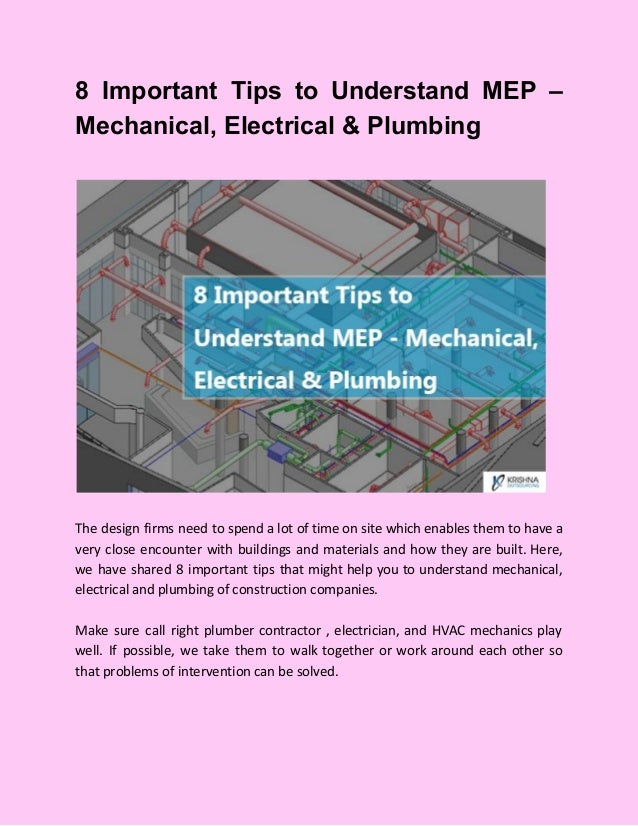 8 Important Tips to Understand MEP – Mechanical, Electrical