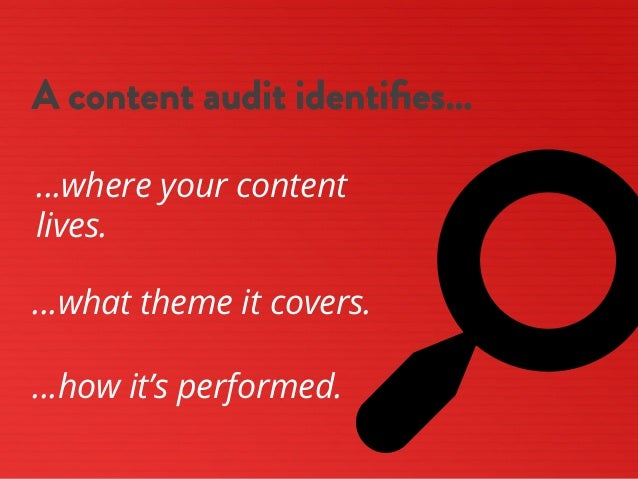 s A content audit identifies… …where your content lives. …what theme it covers. …how it's performed.
