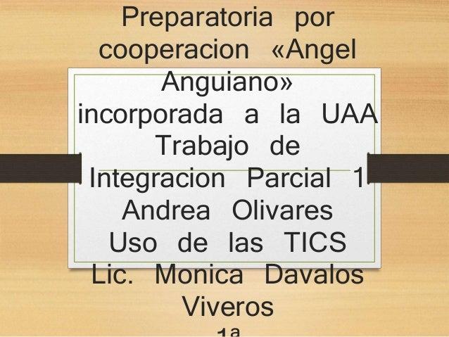Preparatoria por  cooperacion «Angel  Anguiano»  incorporada a la UAA  Trabajo de  Integracion Parcial 1  Andrea Olivares ...