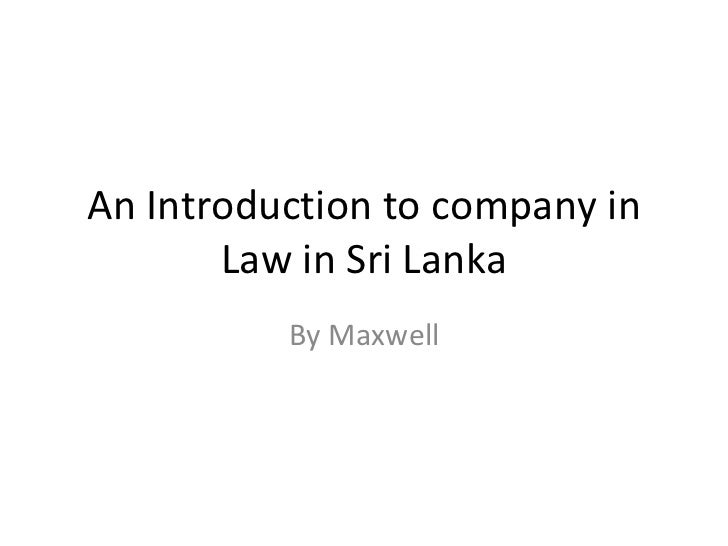 An Introduction to company in Law in Sri Lanka By Maxwell