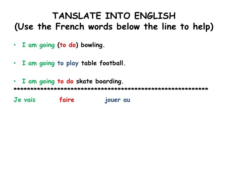 TANSLATE INTO ENGLISH(Use the French words below the line to help)<br />I am going (to do) bowling.<br />I am going to pla...