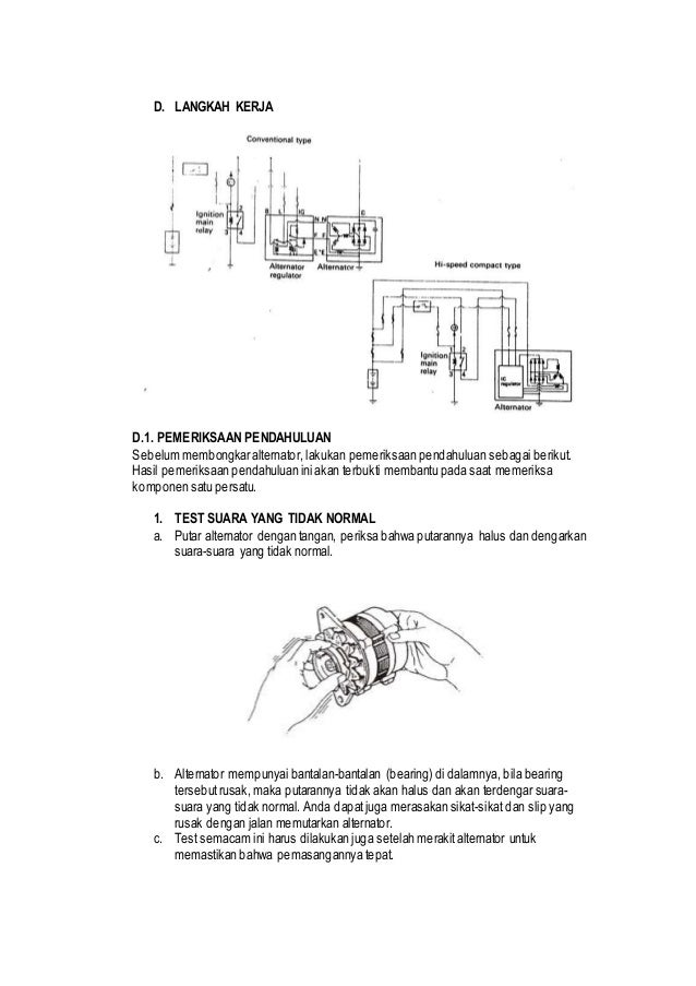 Jobsheet Overhaul Alternator Dan Regulator
