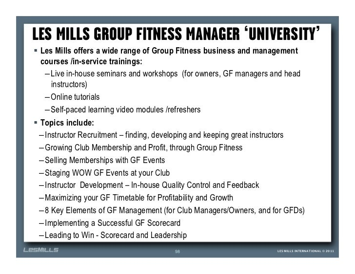 LES MILLS GROUP FITNESS MANAGER