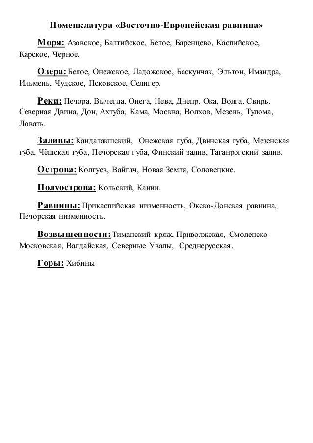 Номенклатура «Восточно-Европейская равнина» Моря: Азовское, Балтийское, Белое, Баренцево, Каспийское, Карское, Чёрное. Озе...