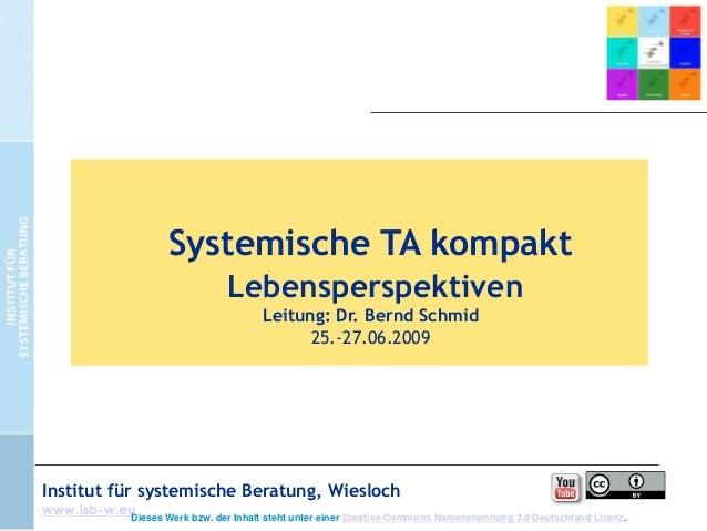Systemische TA kompakt Lebensperspektiven Leitung: Dr. Bernd Schmid 25.-27.06.2009  Institut für systemische Beratung, Wie...