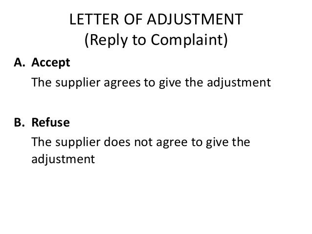 Letter Of Complaint And Adjustment