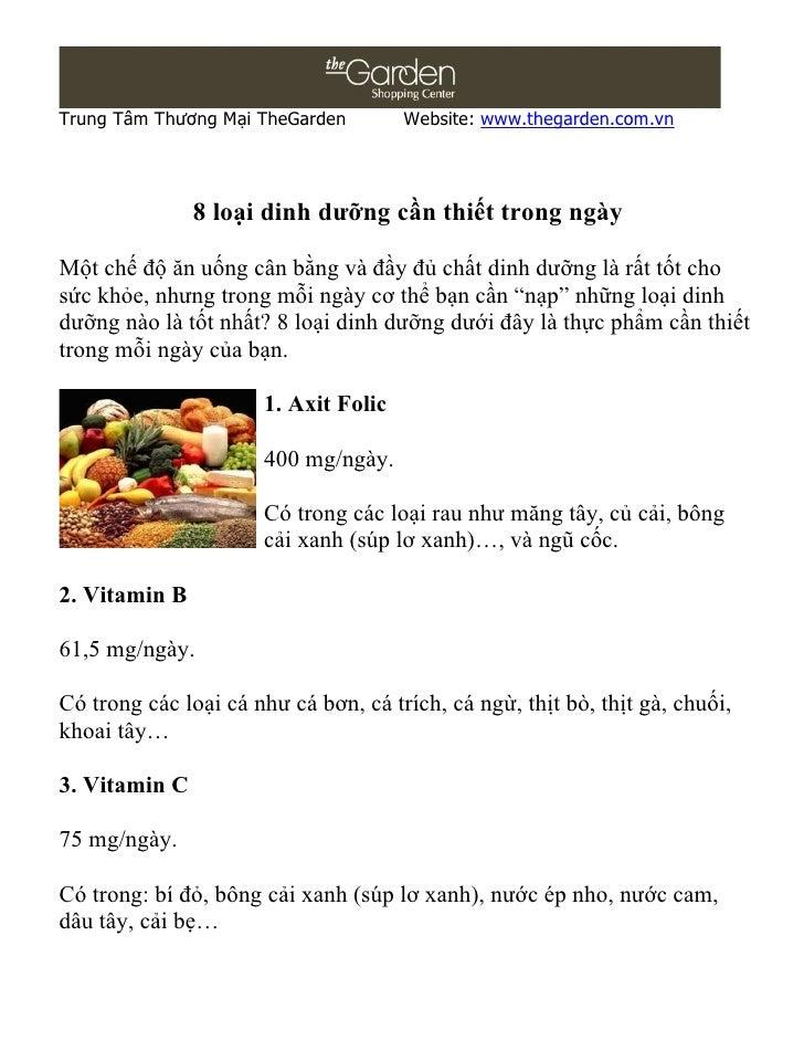Trung Tâm Thương Mại TheGarden        Website: www.thegarden.com.vn               8 loại dinh dưỡng cần thiết trong ngàyMộ...