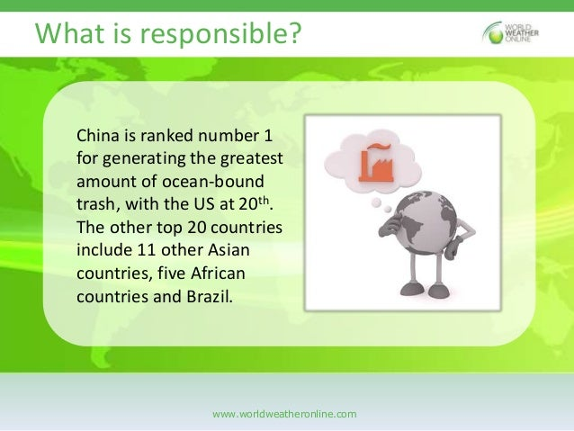 8 million tons of plastic dumped into the ocean each year Slide 3