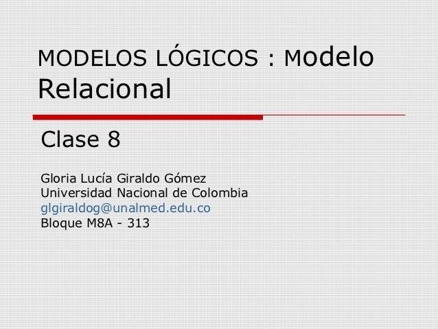 MODELOS LÓGICOS : ModeloRelacionalClase 8Gloria Lucía Giraldo GómezUniversidad Nacional de Colombiaglgiraldog@unalmed.edu....