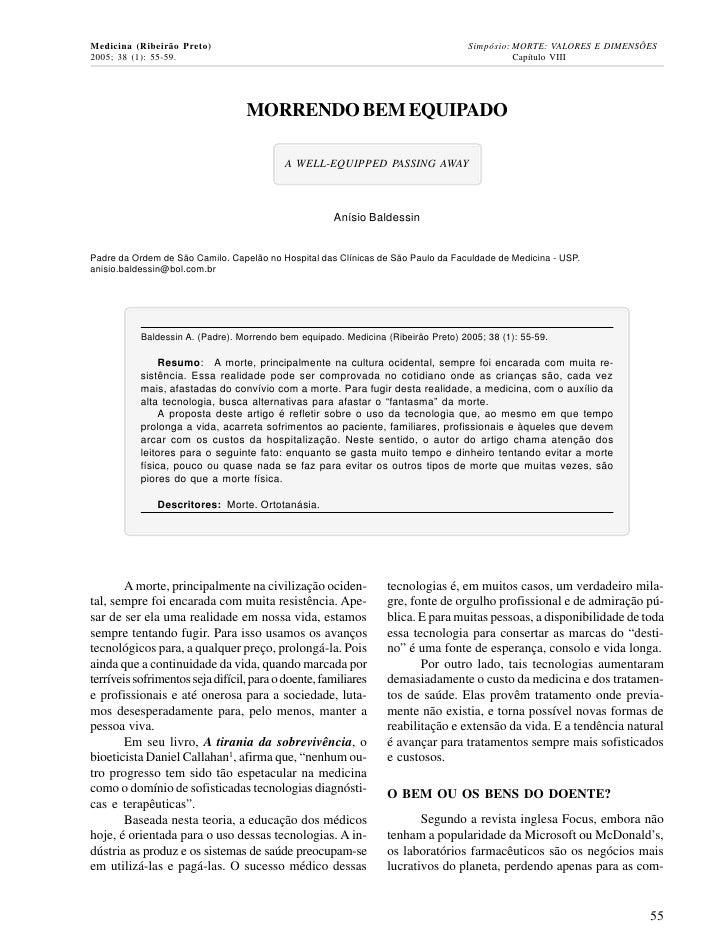 Medicina (Ribeirão Preto)                                                           Simpósio: MORTE: VALORES E DIMENSÕES20...