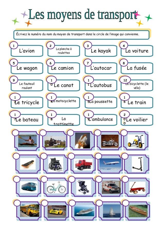 1. Écrivez le numéro du nom du moyen de transport dans le circle de l'image qui convienne. Écrivez le numéro du nom du moy...