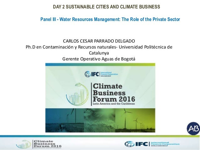 DAY 2 SUSTAINABLE CITIES AND CLIMATE BUSINESS Panel III - Water Resources Management: The Role of the Private Sector CARLO...