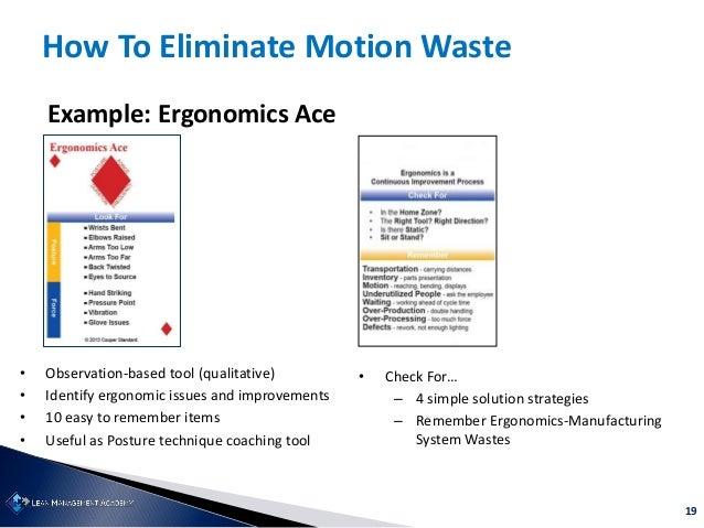 19 How To Eliminate Motion Waste Example: Ergonomics Ace • Observation-based tool (qualitative) • Identify ergonomic issue...
