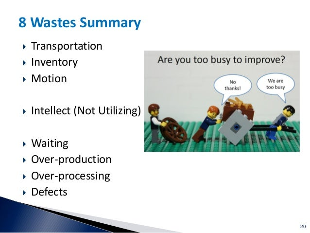 20 8 Wastes Summary  Transportation  Inventory  Motion  Intellect (Not Utilizing)  Waiting  Over-production  Over-p...