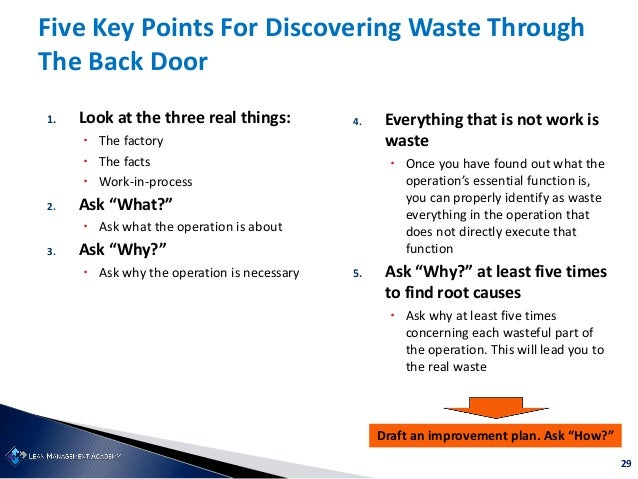 """29 1. Look at the three real things:  The factory  The facts  Work-in-process 2. Ask """"What?""""  Ask what the operation i..."""