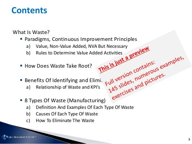 3 Contents What Is Waste?  Paradigms, Continuous Improvement Principles a) Value, Non-Value Added, NVA But Necessary b) R...