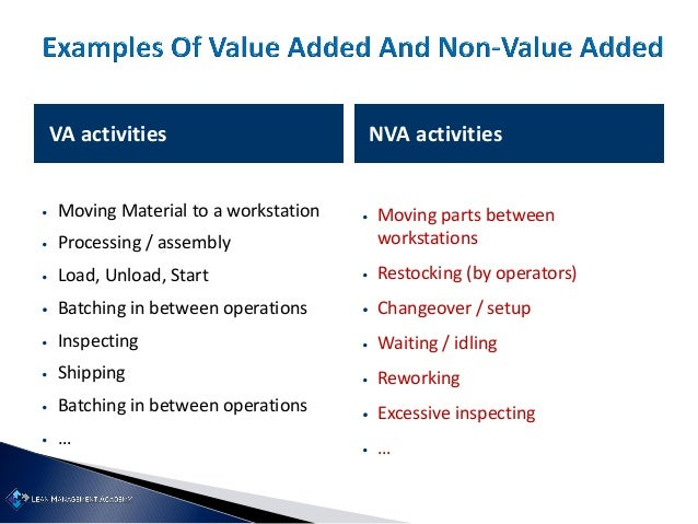 VA activities NVA activities • Moving Material to a workstation • Processing / assembly • Load, Unload, Start • Batching i...