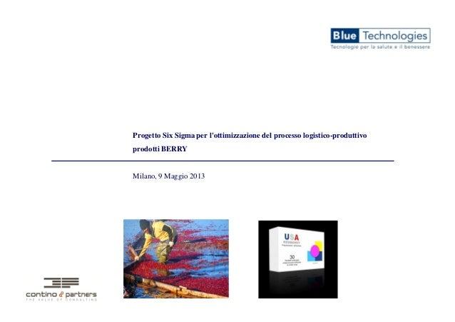 Progetto Six Sigma per lottimizzazione del processo logistico-produttivoprodotti BERRYMilano, 9 Maggio 2013