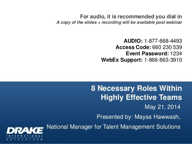8 Necessary Roles Within Highly Effective Teams May 21, 2014 Presented by: Maysa Hawwash, National Manager for Talent Mana...