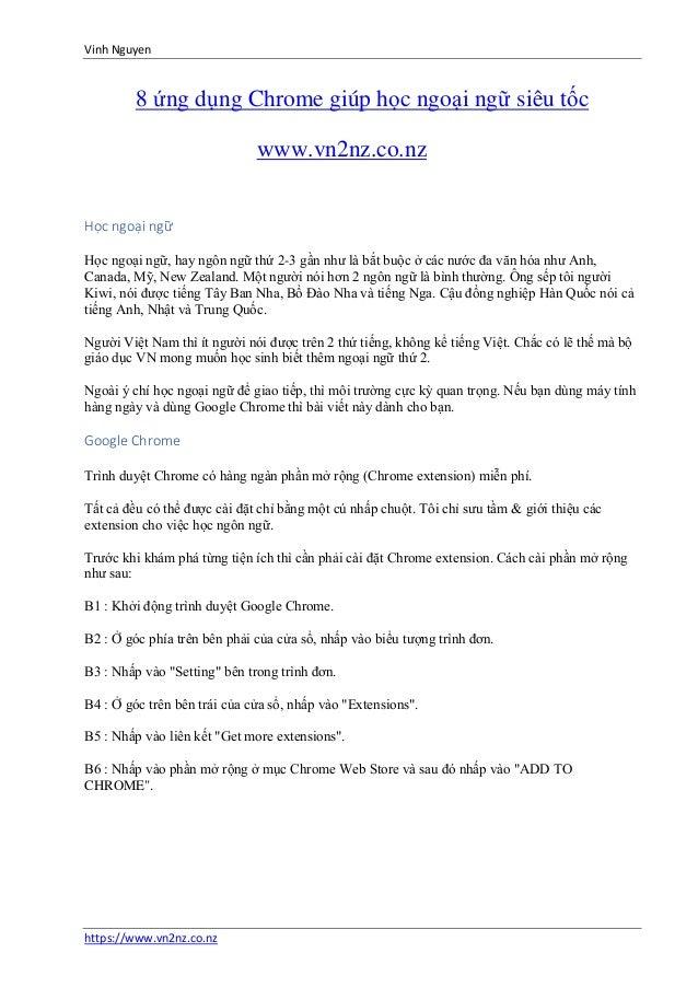 Vinh Nguyen https://www.vn2nz.co.nz 8 ứng dụng Chrome giúp học ngoại ngữ siêu tốc www.vn2nz.co.nz Học ngoại ngữ Học ngoại ...
