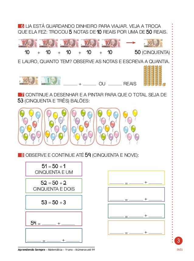 matemática com números até 99