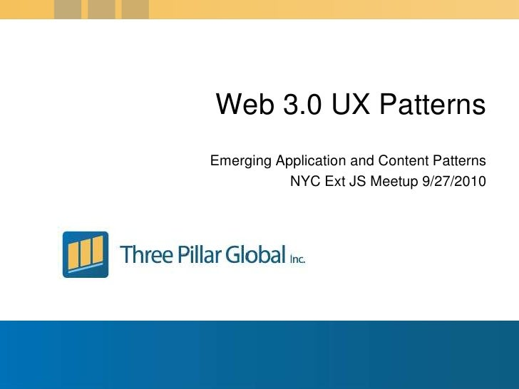 Emerging Application and Content Patterns<br />NYC Ext JS Meetup 9/27/2010<br />Web 3.0 UX Patterns<br />