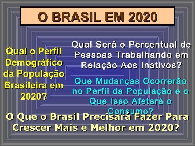 O BRASIL EM 2020O BRASIL EM 2020 Qual o PerfilQual o Perfil DemográficoDemográfico da Populaçãoda População Brasileira emB...