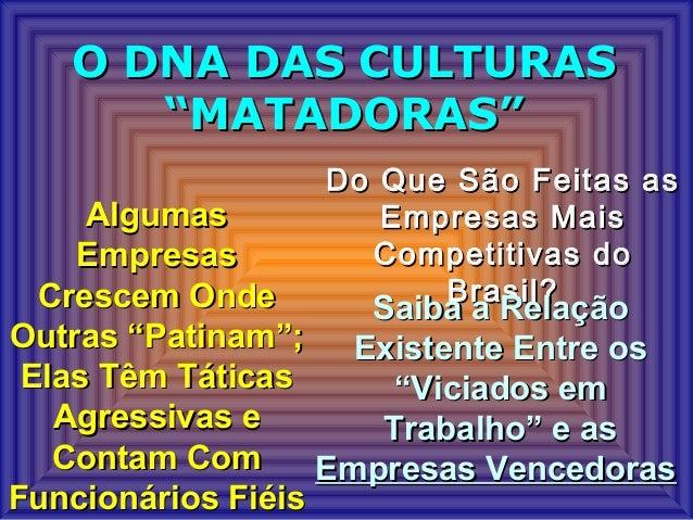 "O DNA DAS CULTURASO DNA DAS CULTURAS ""MATADORAS""""MATADORAS"" AlgumasAlgumas EmpresasEmpresas Crescem OndeCrescem Onde Outra..."