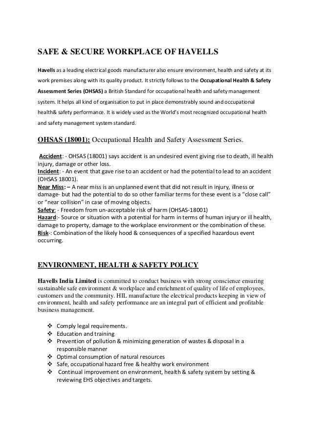 Report OF Summer Training inHAVELLS INDIA LTD (Lighting