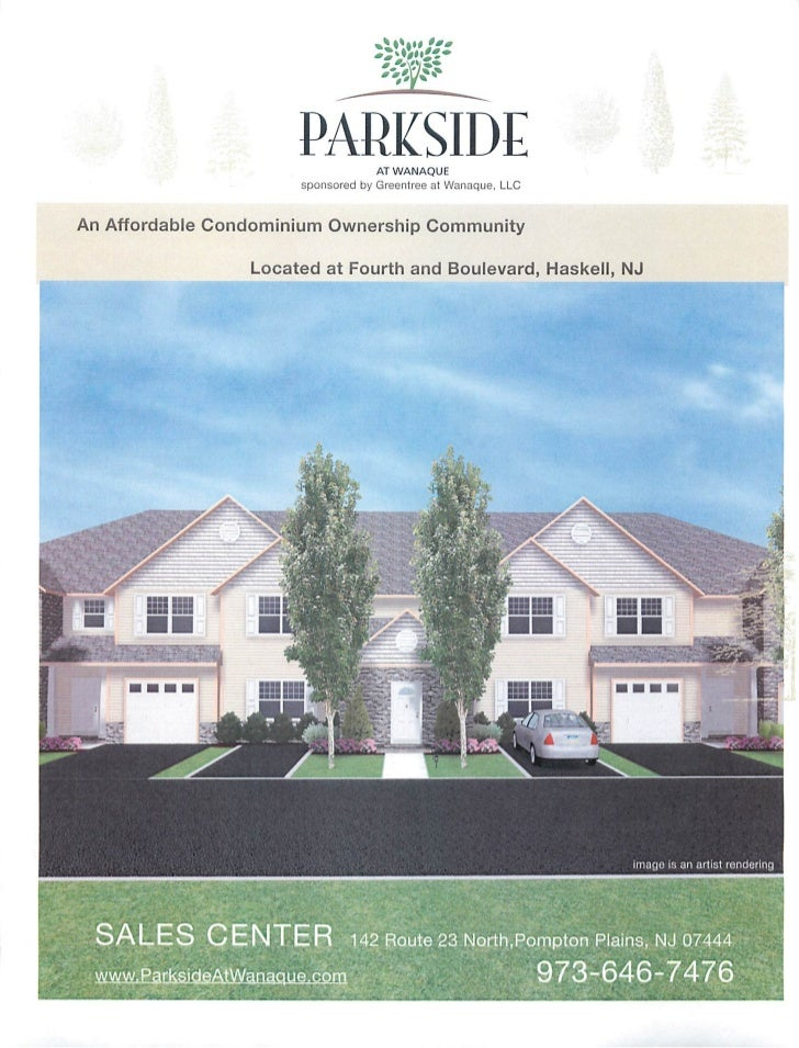 Parkside at Wanaque - new construction Townhomes and One Level Style.  Haskell, NJ.  new condos.