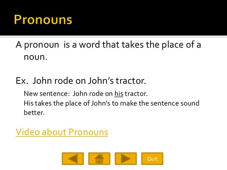 A pronoun is a word that takes the place of a   noun.  Ex. John rode on John's tractor.  New sentence: John rode on his tr...