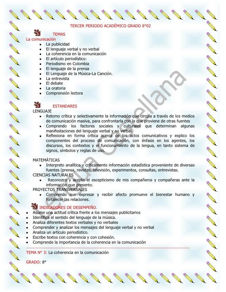 TERCER PERIODO ACADÉMICO GRADO 8°02               TEMASLa comunicación          La publicidad          El lenguaje verbal ...