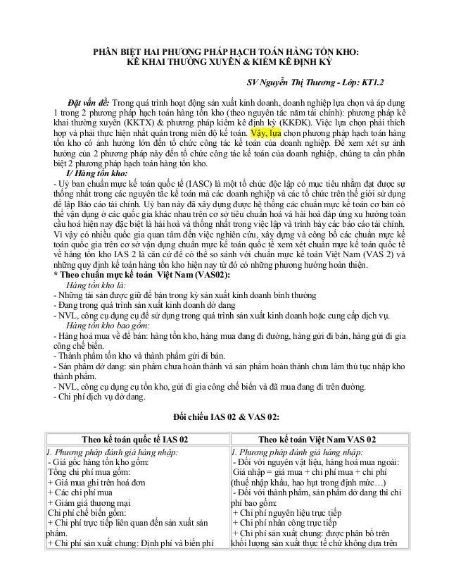 PHÂN BIỆT HAI PHƯƠNG PHÁP HẠCH TOÁN HÀNG TỒN KHO:                   KÊ KHAI THƯỜNG XUYÊN & KIỂM KÊ ĐỊNH KỲ                ...